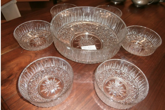 Pressed glass trifle dishes
